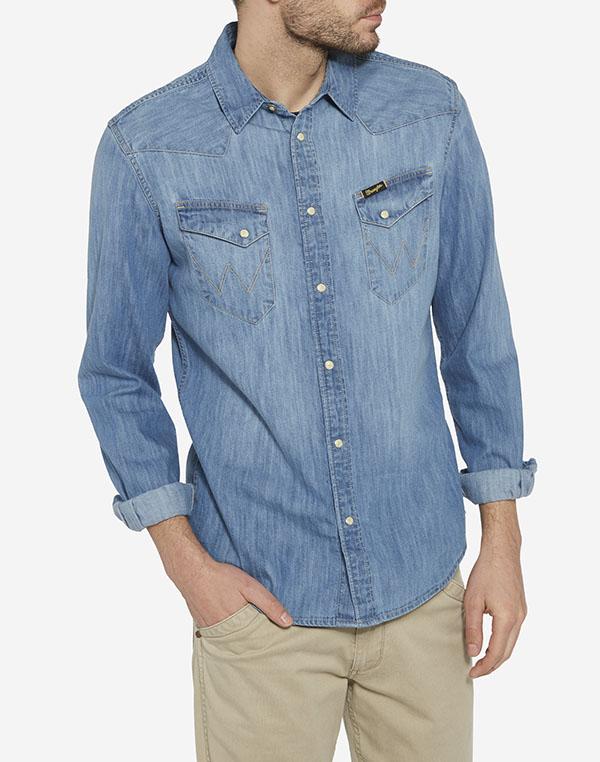 Wrangler pánská džínová košile Western W5833O64E Modrá L