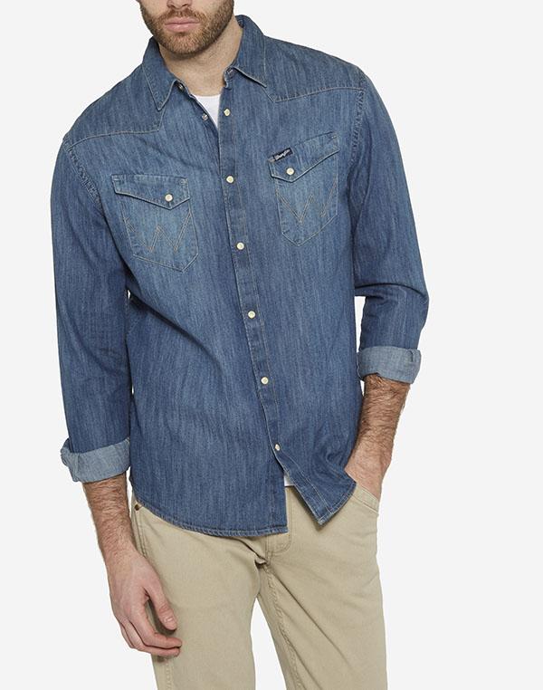Wrangler pánská džínová košile W5870O68E Modrá L