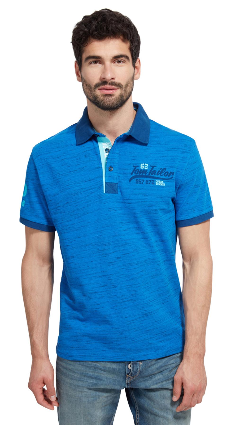 Tom Tailor pánské triko s límečkem 15311130010/6962 Modrá XXL