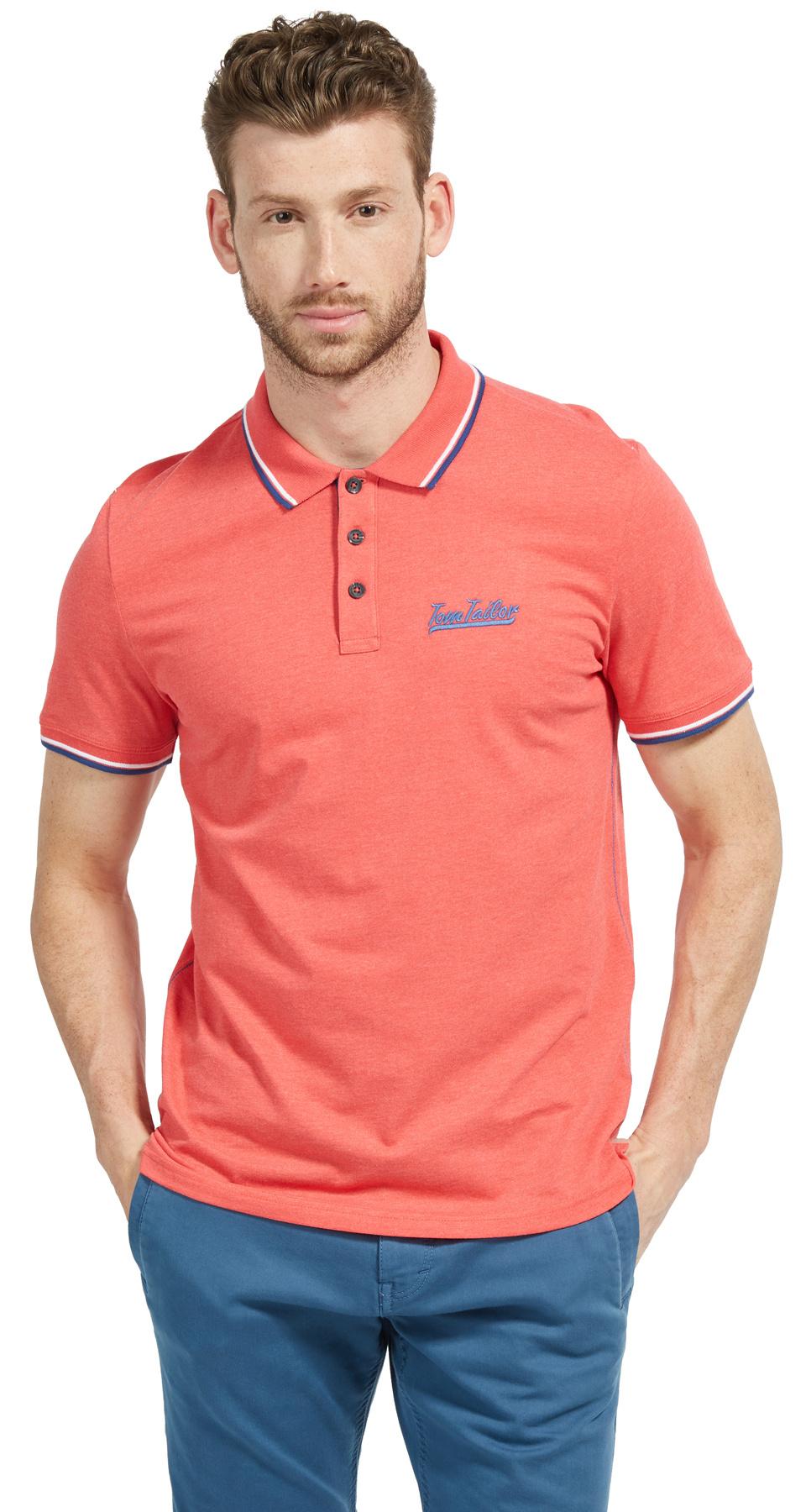 Tom Tailor pánské triko s límečkem 15311126210/4270 Červená XL