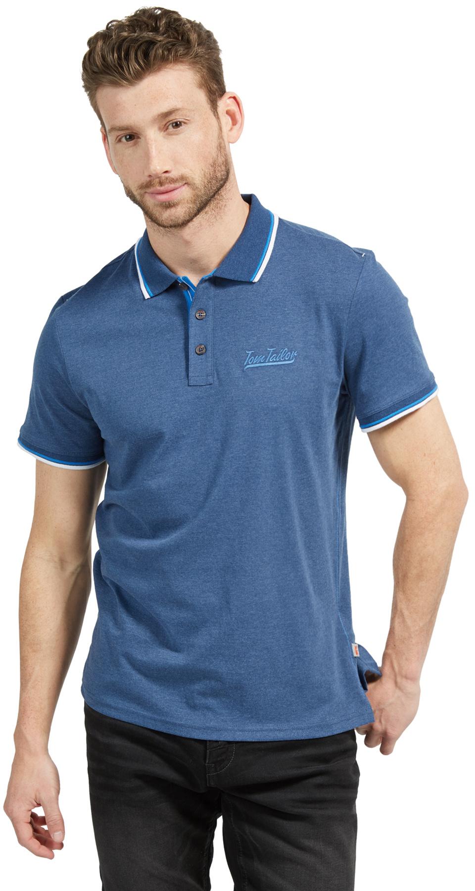 Tom Tailor pánské triko s límečkem 15311126210/6621 Modrá M