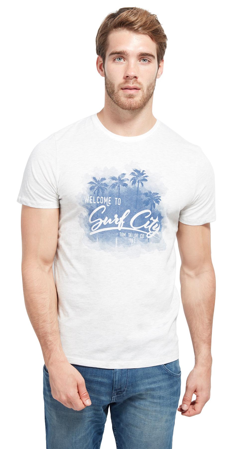 Tom Tailor pánské triko s potiskem 103800800010/2063 Bílá XXL