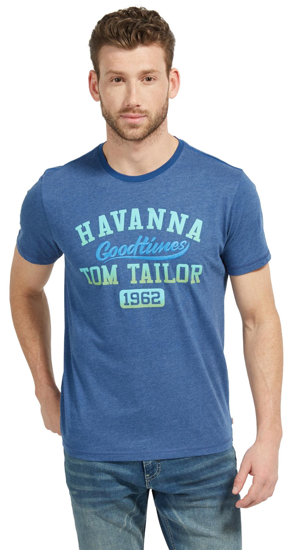 Tom Tailor pánské triko 10380216210/6621 Modrá XL