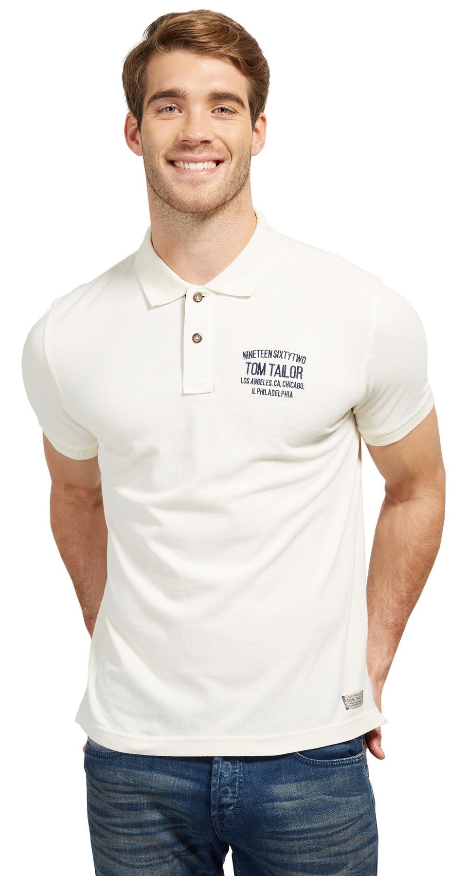 Tom Tailor pánské polo s logem 15310930010/2212 Bílá XL