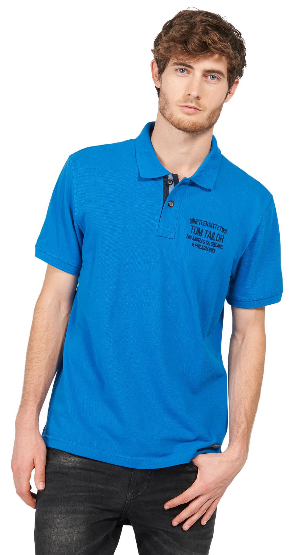 Tom Tailor pánské polo s logem 15310930010/6166 Modrá XL