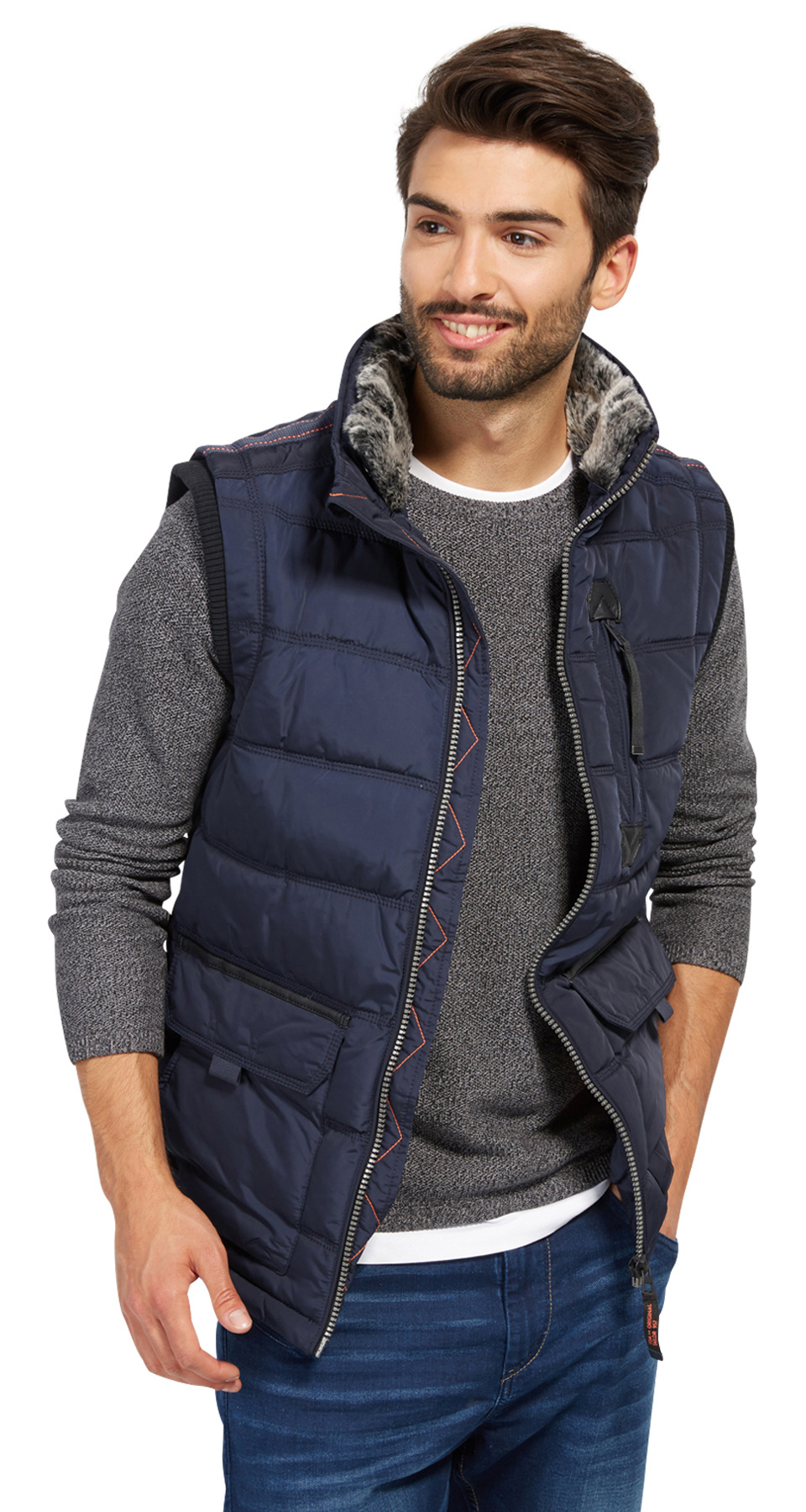 Tom Tailor pánská zimní vesta 3533477/6800 Modrá XL
