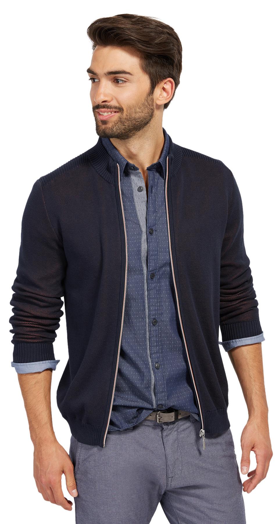 Tom Tailor svetr se zipem 30229690010/6800 Modrá XL