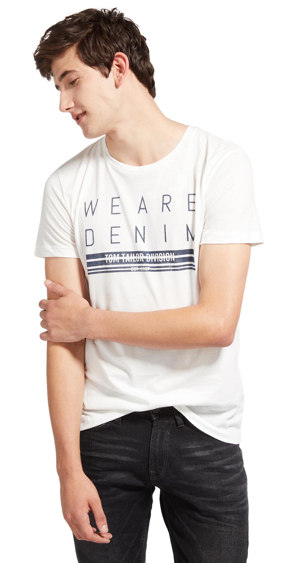 Tom Tailor pánské triko s potiskem 1055130/2132 Bílá XXL