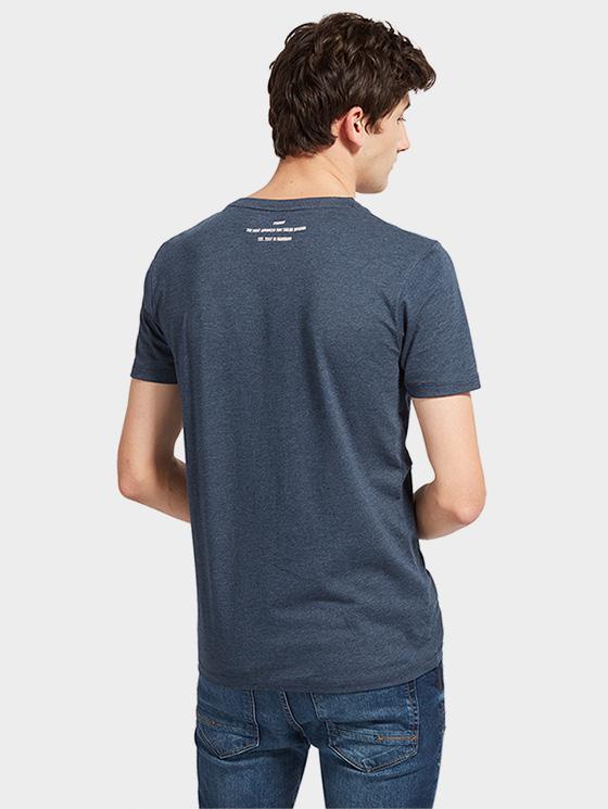 Tom Tailor pánské triko s potiskem 1055131/6740 Modrá L