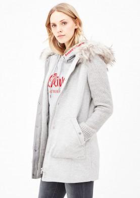 s.Oliver dámský kabát s úpletovými rukávy