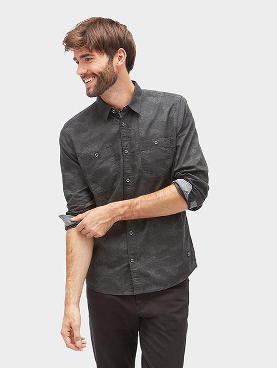 Tom Tailor košile s maskovaným vzorem 2033885/2550 Šedá XL