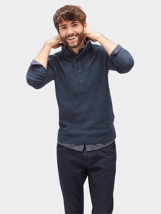 Tom Tailor pánský svetr s knoflíky 3022847/6519 Šedá XXL