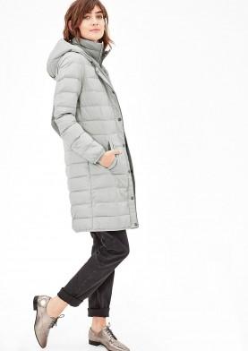 s.Oliver dámský péřový kabát s kapucí šedý