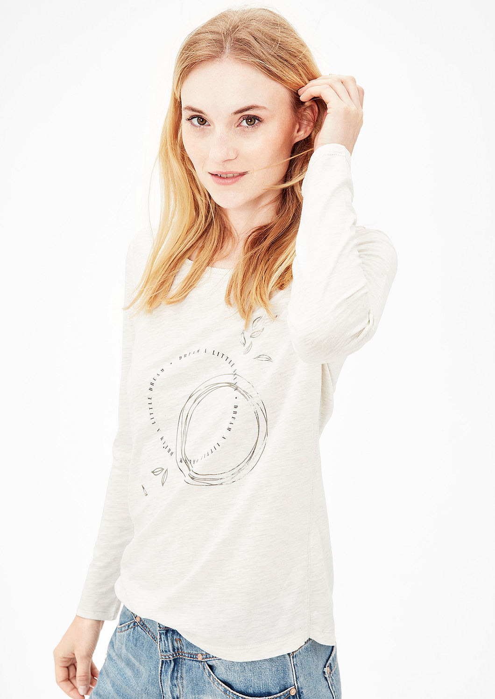 s.Oliver dámské triko s lesklým nápisem 14.710.31.5697/02E1 Bílá 42