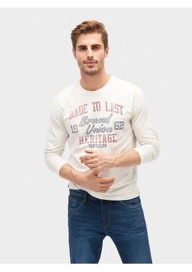 Tom Tailor pánské triko s dlouhým rukávem a potiskem