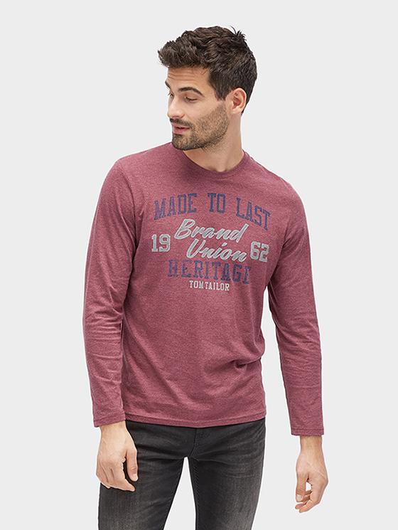 Tom Tailor pánské triko s dlouhým rukávem a potiskem 1038233/4257 Červená XL