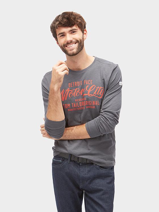 Tom Tailor pánské triko s dlouhým rukávem 1038690/2740 Šedá XL