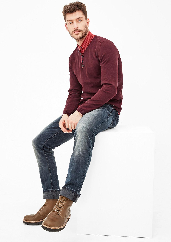 s.Oliver pánský svetr s knoflíky 13.710.61.2596/39W0 Vínová M