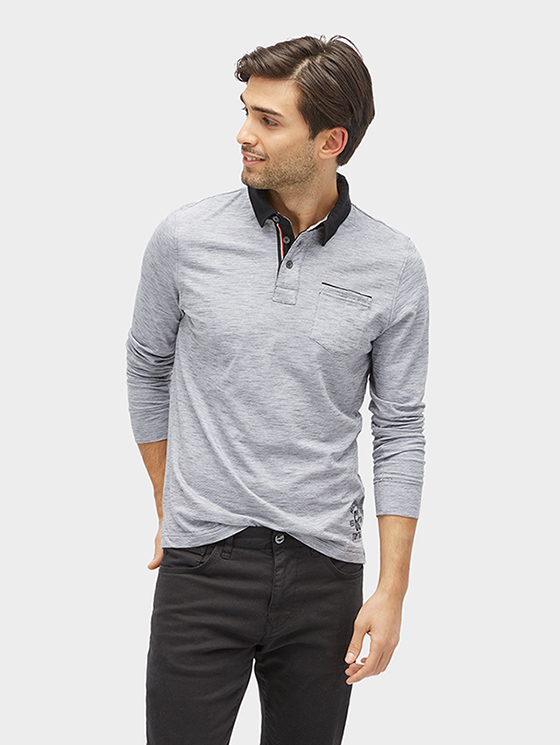 Tom Tailor pánské tričko s límečkem 15311510010/5740 Šedá XL
