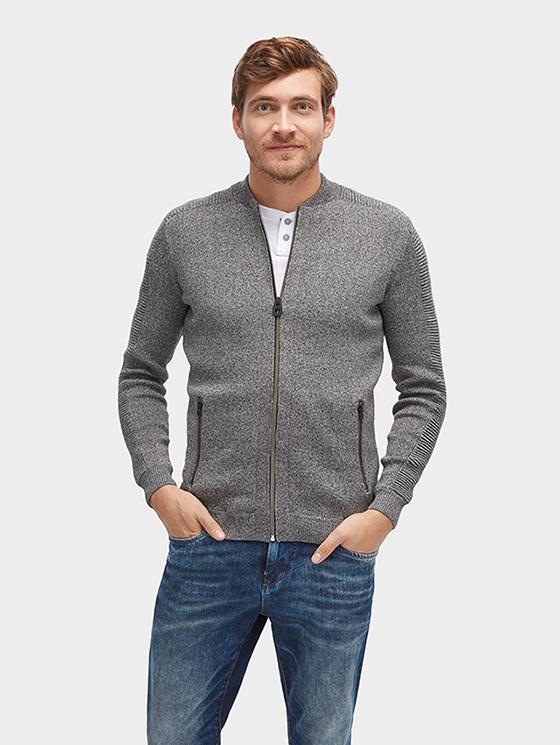 Tom Tailor pánský svetr se zipem 30229000010/2999 Šedá XL