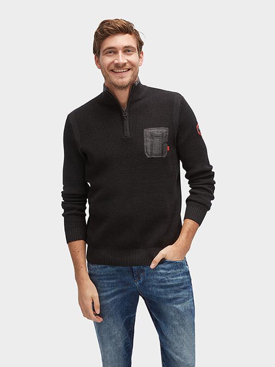 Tom Tailor pánský svetr s kapsou 30230130010/2999 Černá XL