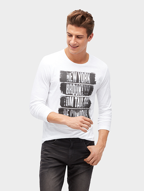 Tom Tailor pánské triko s potiskem 10389630010/2000 Bílá XL