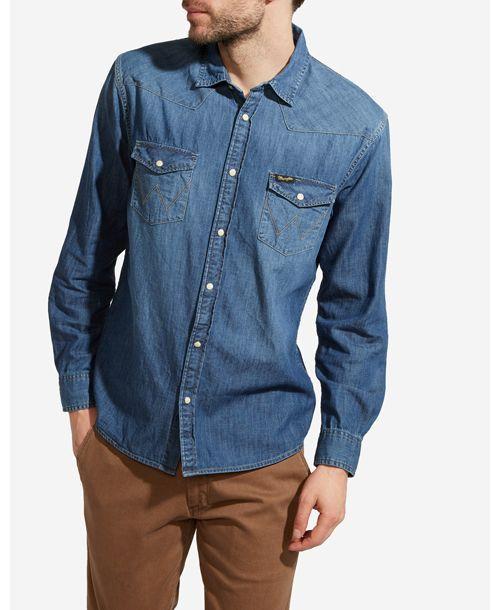 Wrangler pánská džínová košile W5973O78E Modrá L