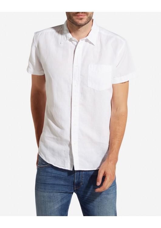 Wrangler lněná košile s krátkým rukávem - Superjeans.cz e05e66e9ce