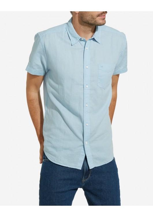 Wrangler lněná košile s krátkým rukávem - Superjeans.cz 59e8f1350d