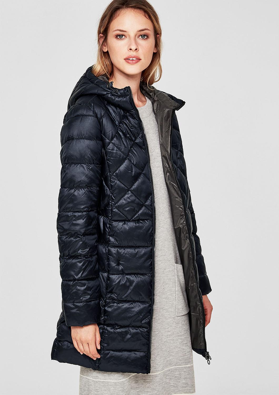 s.Oliver dámský prošívaný kabát s leskem 05.809.52.3237/5996 Modrá 36