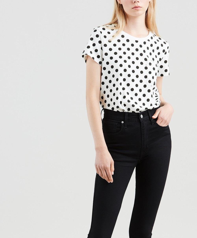 Levis dámské tričko s puntíkem 18672-0107 Bílá S