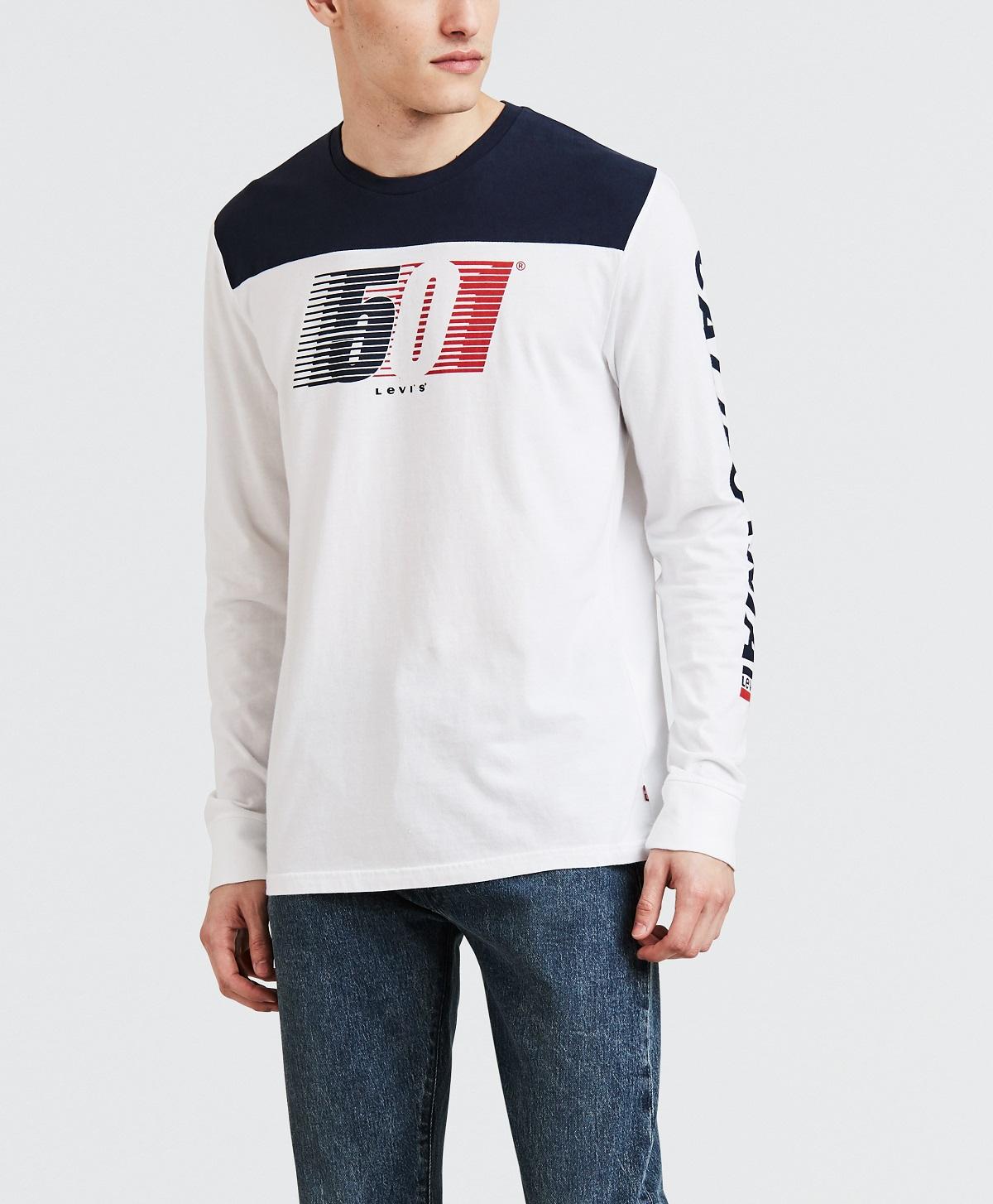 Levis pánské triko s dlouhým rukávem 56847-0000 Bílá XXL