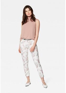 Mavi dámské kalhoty s květinovým potiskem