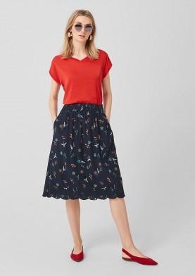 s.Oliver sukně s květinovým potiskem a výšivkou