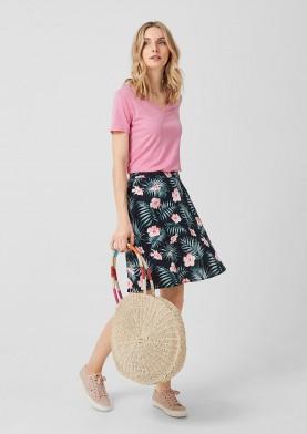 s.Oliver lněná sukně s květinovým potiskem