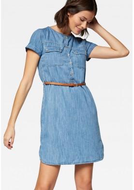 Mavi džínové šaty s páskem