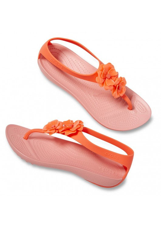 Crocs Serena Embellish Flip Bright Coral/Melon