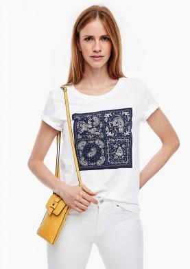 s.Oliver tričko z žíhané příze s potiskem
