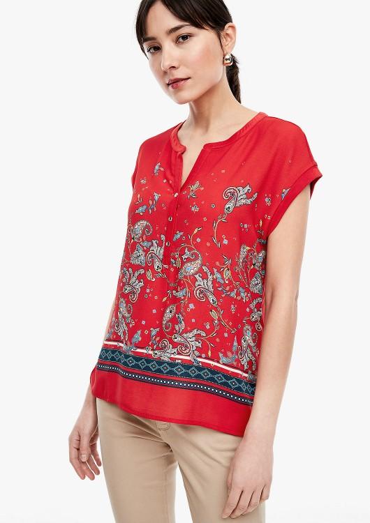 s.Oliver tričko z kombinace materiálů s kašmírovým vzorem