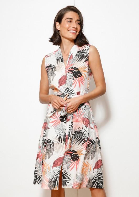 s.Oliver lněné letní šaty s květinovým potiskem