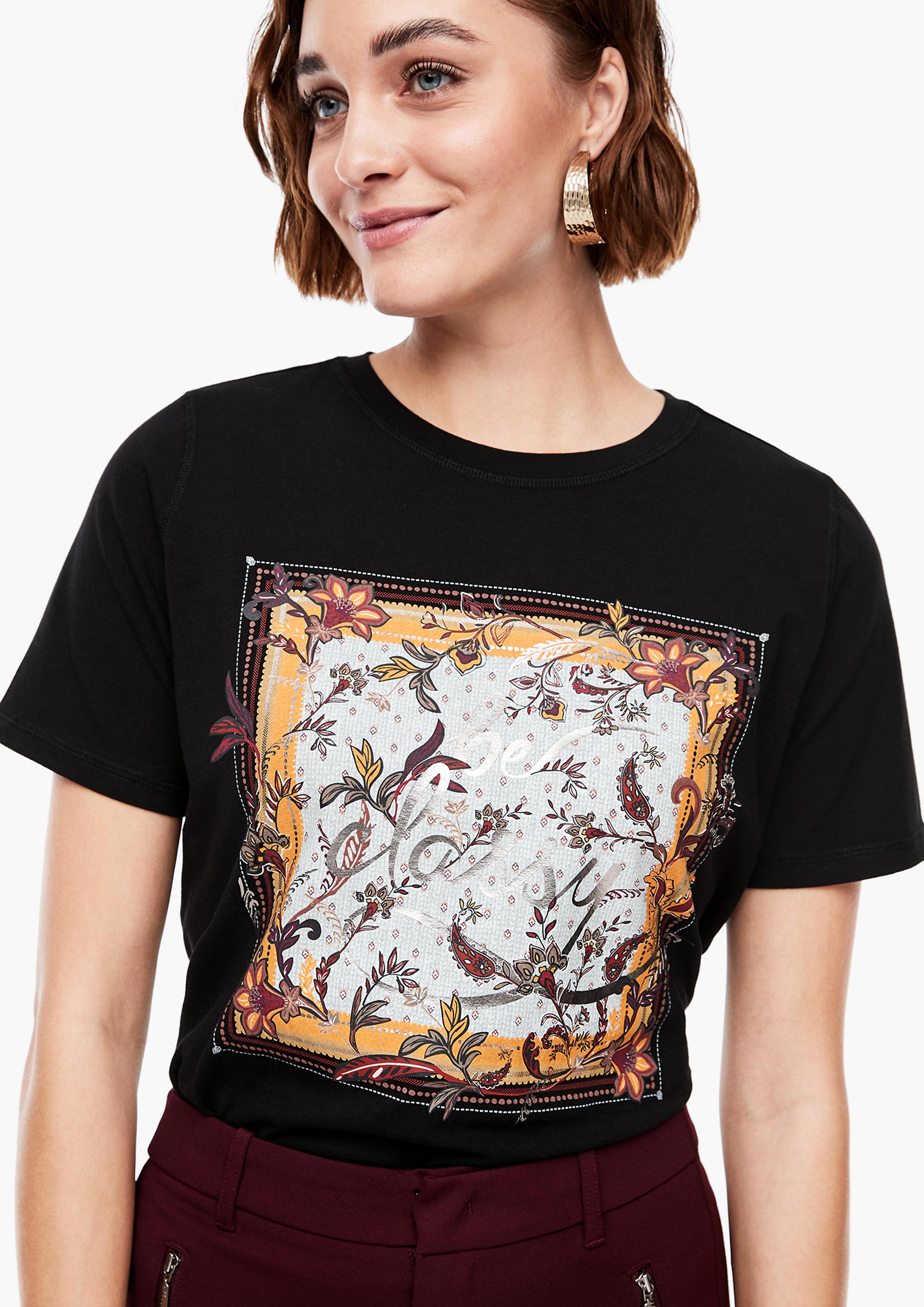 s.Oliver dámské tričko s potiskem 14.009.32.6054/99D1 Černá 36