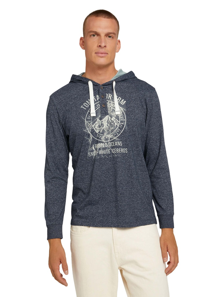 Tom Tailor pánské triko s kapucí 1029224/25313 Modrá M